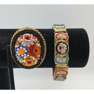 Italian Micro Mosaic Inlay Beaded Jewelry Set